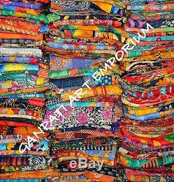 10 PC Lot Wholesale Vintage Kantha Quilt Throw Blanket Bedding India Bedspread