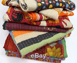 10 Pieces Whole Sale Lot of Indian Tribal Kantha Quilts Vintage Cotton Bed Cover