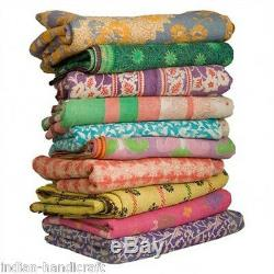10 Quilts Vintage Heavy Kantha Gudri Reversible Ralli Bedspread Plaid India GD2