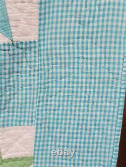 (103) Reserved 4 Lora Gingham Aqua Vintage Quilt GOOSE TRACKS Handmade