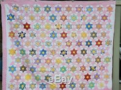 (151) AMAZING Vintage Quilt STARS IN HEXAGONS Feed Sack Handmade