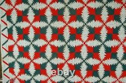 1880's Red & Green Pineapple Windmill Blades Log Cabin Antique Quilt ZIGZAG BDR