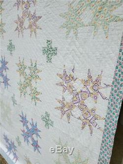 (216) ANOTHER GREAT Vintage Quilt STAR Handmade Sweet Fabrics