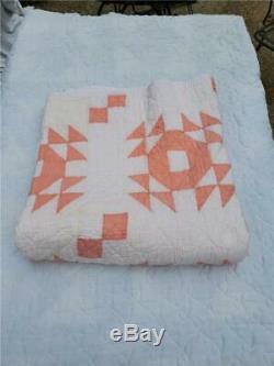 (243) STUNNING Vintage Quilt CROWN OF THORNS Lovely Melon Orange Handmade