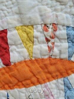 (365) FASTASTIC Vintage Quilt DOUBLE WEDDING RING VARIATION Handmade