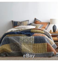 3PCS King Handmade Vintage Floral Patchwork Cotton Quilt Coverlet Bedspread Set