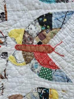 (41) AMAZING Vintage Quilt BUTTERFLY Handmade GORGEOUS