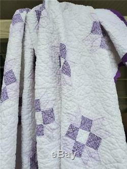 (42) WOW! Beautiful FARMER'S DAUGHTER Vintage Quilt Handmade SCALLOPED Edges