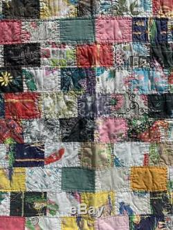 50s Vintage Handmade Patchwork Quilt -Travel Cars Cowboy Yellowstone Collectible