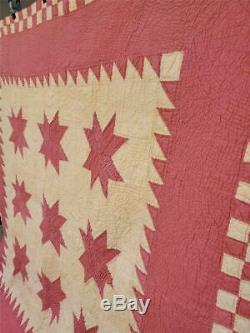 (63) GREAT COLORS! Vintage OHIO STAR Quilt BRICK RED and BUTTER YELLOW Handmade