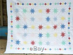 (85) FUN FUN FUN! Vintage Quilt STARS & DIAMONDS Handmade