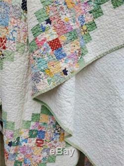 (87) INCREDIBLE Vintage Quilt GLORIFIED POSTAGE STAMP IRISH CHAIN Handmade