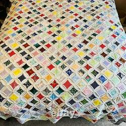 88x80 Vintage 1940s Beautiful Multicolor Cathedral Window Quilt Handmade EUC
