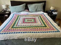 91 x 107 patchwork handmade quilt queen full size vintage square wave stitch