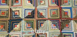 AMAZING ANTIQUE c. 1860s PENNSYLVANIA LOG CABIN PATCHWORK QUILT 67x77
