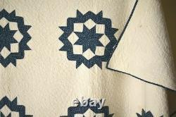 AMAZING Vintage 1860s Indigo Blue & White Carpenter's Wheel Stars Antique Quilt