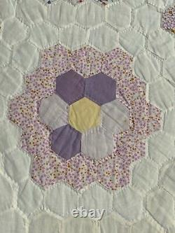 AMISH HAND MADE QUILT 96 x 78 Cotton hand sewn Vintage OOAK ANTIQUE