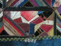 ANTIQUE CRAZY QUILT VELVET BORDER HAND MADE Embroidered Silk Velvet 64 x 64