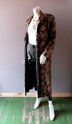 Antique 1920s Asian Black Silk Quilted Brocade Robe Gatsby Red Carpet Glam Med