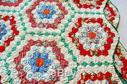 Antique 1930's Vintage Quilt Handmade, G'ma's Flower Garden, Feedsack, 81 x 60