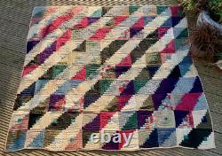 Antique Farmhouse Hand Stitched Patchwork Quilt Cover from Pennsylvania, USA
