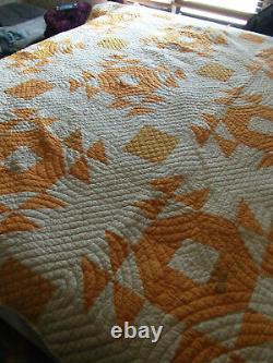 Antique Feed Sack Quilt Handmade, Handsewn, Depression, Americana, Cotton