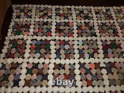 Antique Feedsack Yo Yo Suffolk Puff Handmade Quilt Top Vintage 94x94 Hand Made