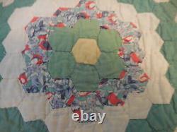 Antique Grandmother's Flower Garden Feedsack Quilt Hand Quilted & Pieced 62x80
