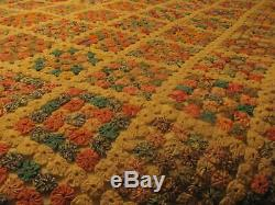 Antique Hand Stitched YO-YO QUILT 82 x 68 Vintage Handmade