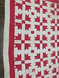 Antique Handmade Cotton Patchwork Quilt Shoo Fly Pattern 68 x 76