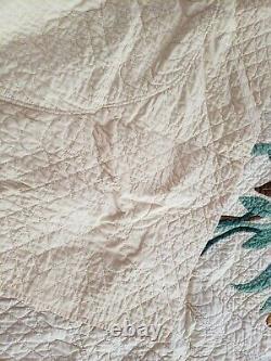 Antique Handmade Cotton Quilt Yellow, Orange, Green Appliques Full Size