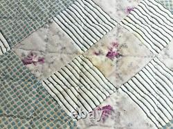 Antique Handmade Quilt with very vintage farbic and all hand made 78 x 78 inche