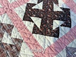 Antique Handmade Quilt with wonderful old vintage farbic