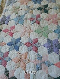 Antique Handmade & Quilted STAR PATCHWORK Heirloom Quilt 102 X 93 Signed MINTY