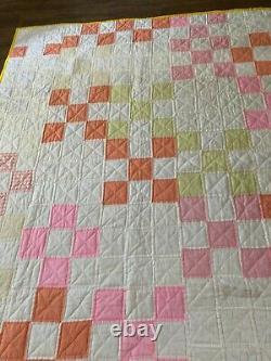Antique Nine Patch Twin pachwork handmade quilt 83 x 64 vintage orange peach