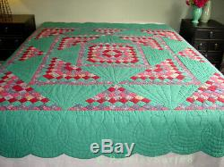 Antique VTG QUILT Green Pink Fans Sunrise Hearts Scalloped Edges Handmade 78x81