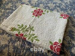 Antique Vintage 1860-80 Hand Made Quilt Red Florals Green Cotton Seeds Museum