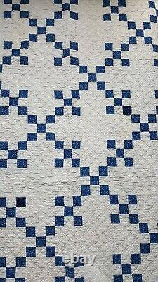 Antique Vintage 1900s Nine Patch Indigo Calico & White Handmade Quilt 80 X 80