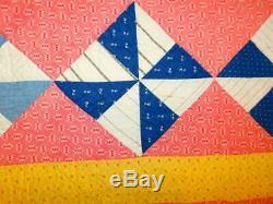 Antique Vintage Handmade PINWHEEL QUILT Pink Yellow Navy Lanc Co PA 70x 80 NICE