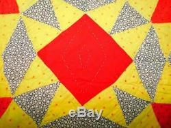 Antique Vintage Handmade PINWHEEL SAWTOOTH QUILT Red Yellow Green Lanc Co PA