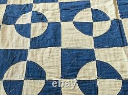 Antique Vintage Handmade blue and white quilt 78 x 78