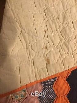 Antique Vintage Quilt 60 X 75 Patchwork Handmade Orange Floral