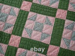 Antique c1880 Red & Green Shoofly PA QUILT 85x71 Great Design