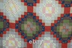 Antique quilt patchwork cotton 19th 82x86 red blue green 1800s fabric original