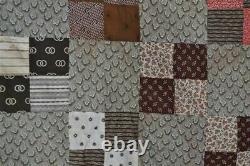 Antique quilt top early brown gray patchwork Civil War Era original 19thc 1800