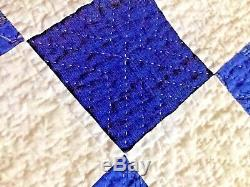 Antique vintage primitive Double Irish Chain blue and white handmade quilt