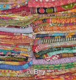 Artisan Handmade Reversible Vintage Kantha Throw Cotton Blanket Quilt