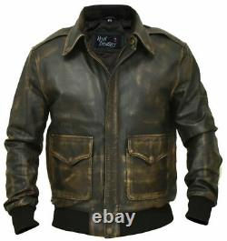 Aviator A-2 Real Cowhide Distressed Leather Bomber Flight Jacket Vintage Brown