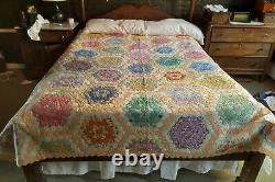 BEAUTIFUL Antique/Vintage Patchwork Quilt Multicolor Handmade Queen Size