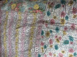 BEAUTIFUL LGE FRENCH VINTAGE 40s 50s HANDMADE PATCHWORK QUILT BEDSPREAD 183x243